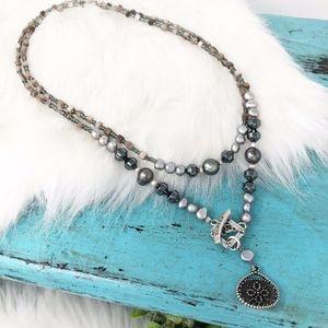 Silpada 925 Hematite Glass Pearl Necklace N1784